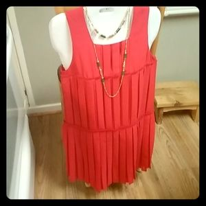 Ann taylor loft 0 red dress pleated. New.